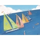 children's wall mural - sailing regatta