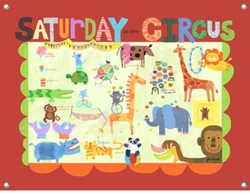 children's wall mural - saturday at the circus