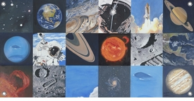 children's wall mural - space exploration