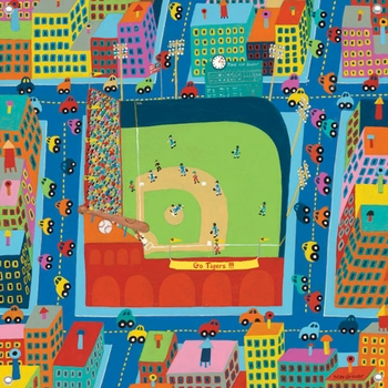 children's wall mural - stadium scene