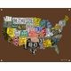 children's wall mural - usa license plate map chocolate