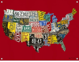 children's wall mural - usa license plate map  red