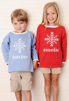 childrens personalized snowflake sweater