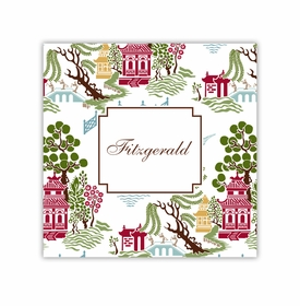 chinoiserie autumn square paper coaster<br>set of 50