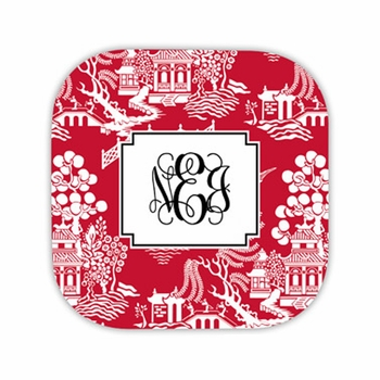 chinoiserie red hardback rounded coaster<br>(set of 4)