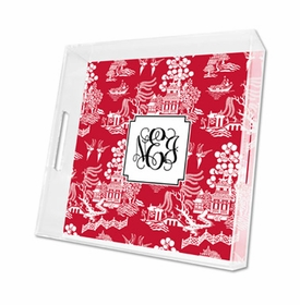 chinoiserie red lucite tray - square
