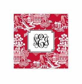 chinoiserie red square paper coaster<br>set of 50