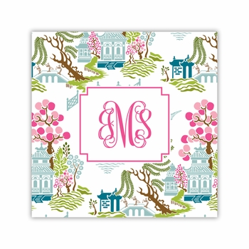 chinoiserie spring coaster square paper coaster<br>set of 50