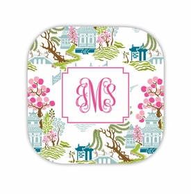 chinoiserie spring hardback rounded coaster<br>(set of 4)