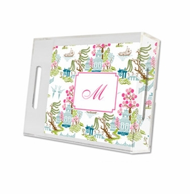 chinoiserie spring lucite tray - small