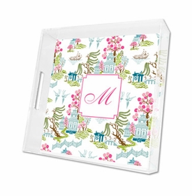 chinoiserie spring lucite tray - square