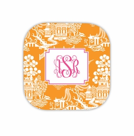 chinoiserie tangerine coaster hardback rounded coaster<br>(set of 4)