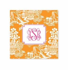 chinoiserie tangerine coaster square paper coaster<br>set of 50