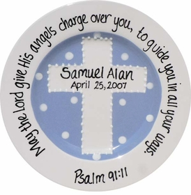 christening plate - periwinkle cross