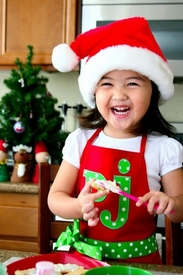 christmas apron for kids - red with lime dots