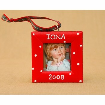 christmas holiday dot frame ornament