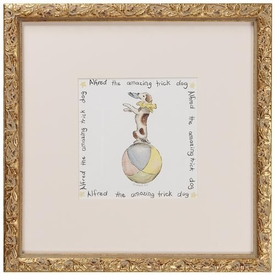 circus print (alfred dog) gold frame