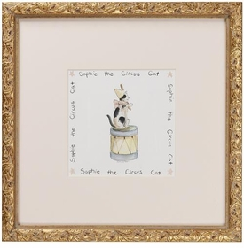 circus print (cat) gold frame