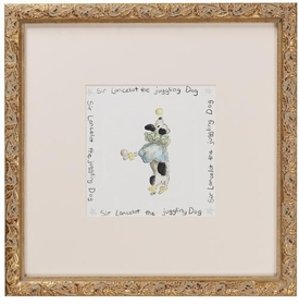 circus print (sir lancelot dog) gold frame