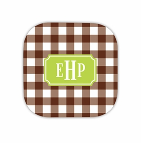 classic check chocolate coaster hardback rounded coaster<br>(set of 4)