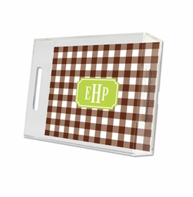 classic check chocolate lucite tray - small