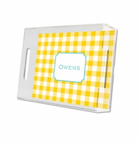 classic check sunflower lucite tray - small