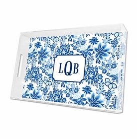 classic floral blue lucite tray - large