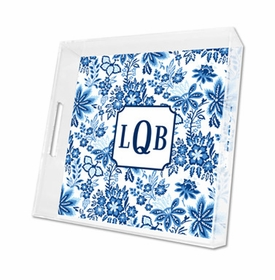 classic floral blue lucite tray - square