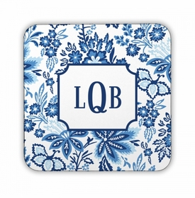 Classic Floral Blue Square Coaster