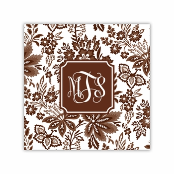 classic floral brown coaster square paper coaster<br>set of 50