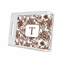 classic floral brown lucite tray - small