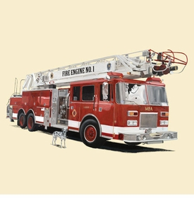 classic red fire engine wall art