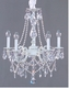 clear crystal chandelier with pink accents