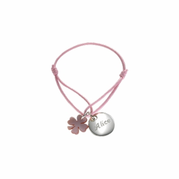 clover charm girls bracelet  - silver or gold plated