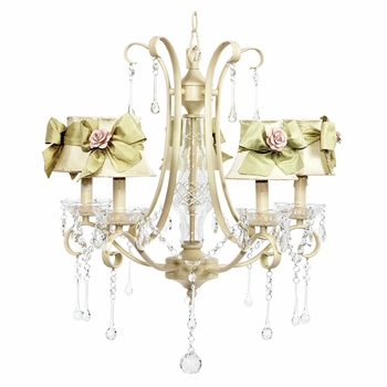 colleen chandelier - ivory shades green sashes