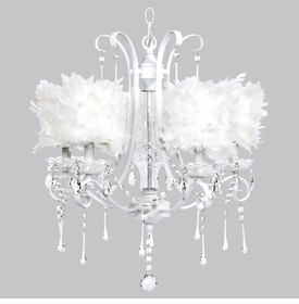 colleen chandelier - white feather drum shades