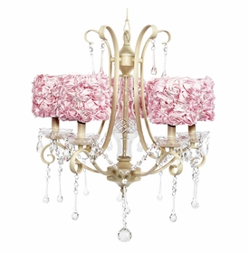 colleen ivory chandelier - pink rose garden shades