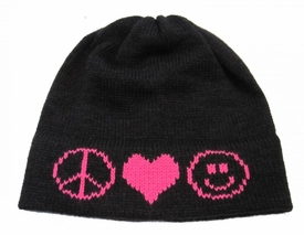 combo peace love smiling face hat