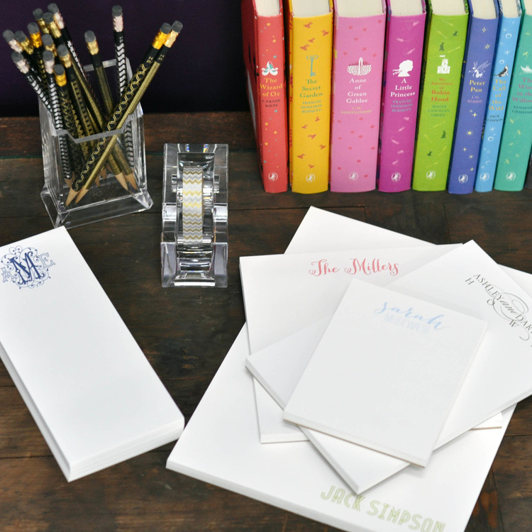 combo sets of personalized notepads featured at