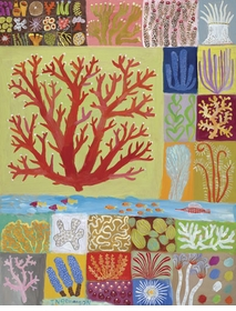 coral collection wall art