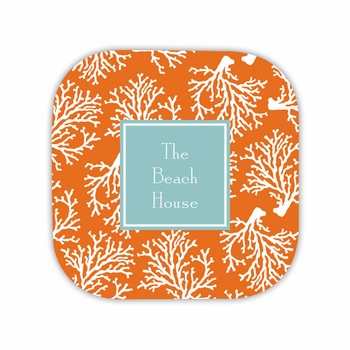 coral repeat coaster hardback rounded coaster<br>(set of 4)