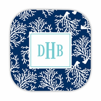 coral repeat navy hardback rounded coaster<br>(set of 4)