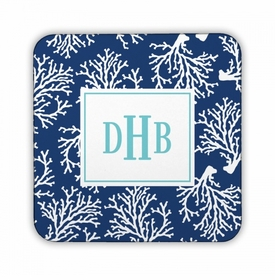 Coral Repeat Navy Square Coaster