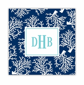 coral repeat navy square paper coaster<br>set of 50