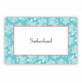 Coral Repeat Teal Disposable Placemat