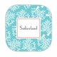 coral repeat teal hardback rounded coaster<br>(set of 4)