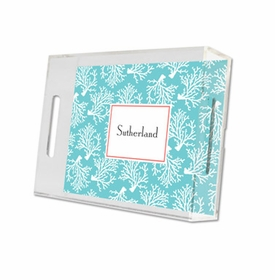 coral repeat teal lucite tray - small