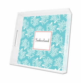 coral repeat teal lucite tray - square