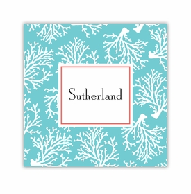 coral repeat teal square paper coaster<br>set of 50