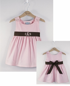 corduroy sash dress  - pink with brown